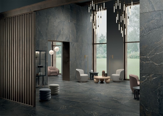 anto dark porcelain panels living room